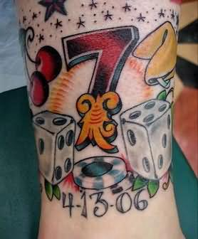 Gambling Dice Tattoo On Leg