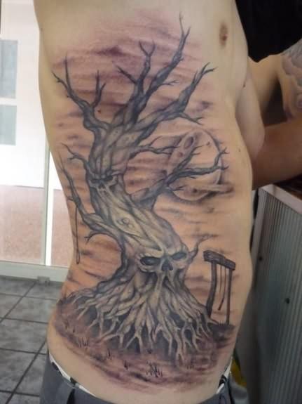 skull tree on rib