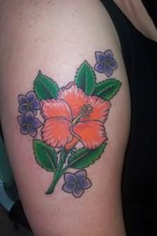 Colourful Hibiscus Flowers Tattoo On Shoulder