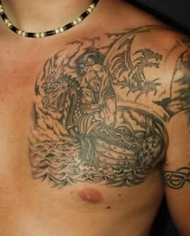 Fantasy tattoo on chest shoulder for Shoulder and chest tattoos