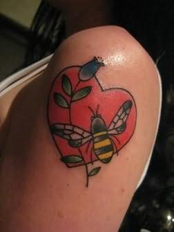 Heart Love Tattoo On Shoulder