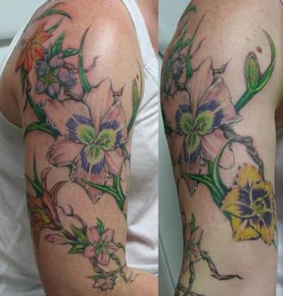 Flowers Half Sleeve Tattoo