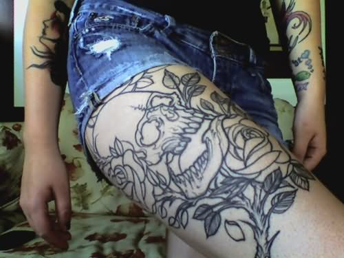 tumblr flowers tattoos on thigh. Black Bedroom Furniture Sets. Home Design Ideas