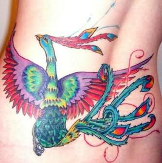 Awesome Phoenix Tattoo On Waist