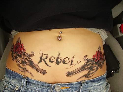 Rebel Tattoo On Waist