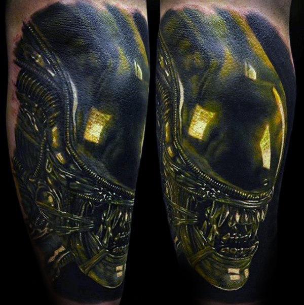 Black And Yellow 3d Alien Tattoo Design