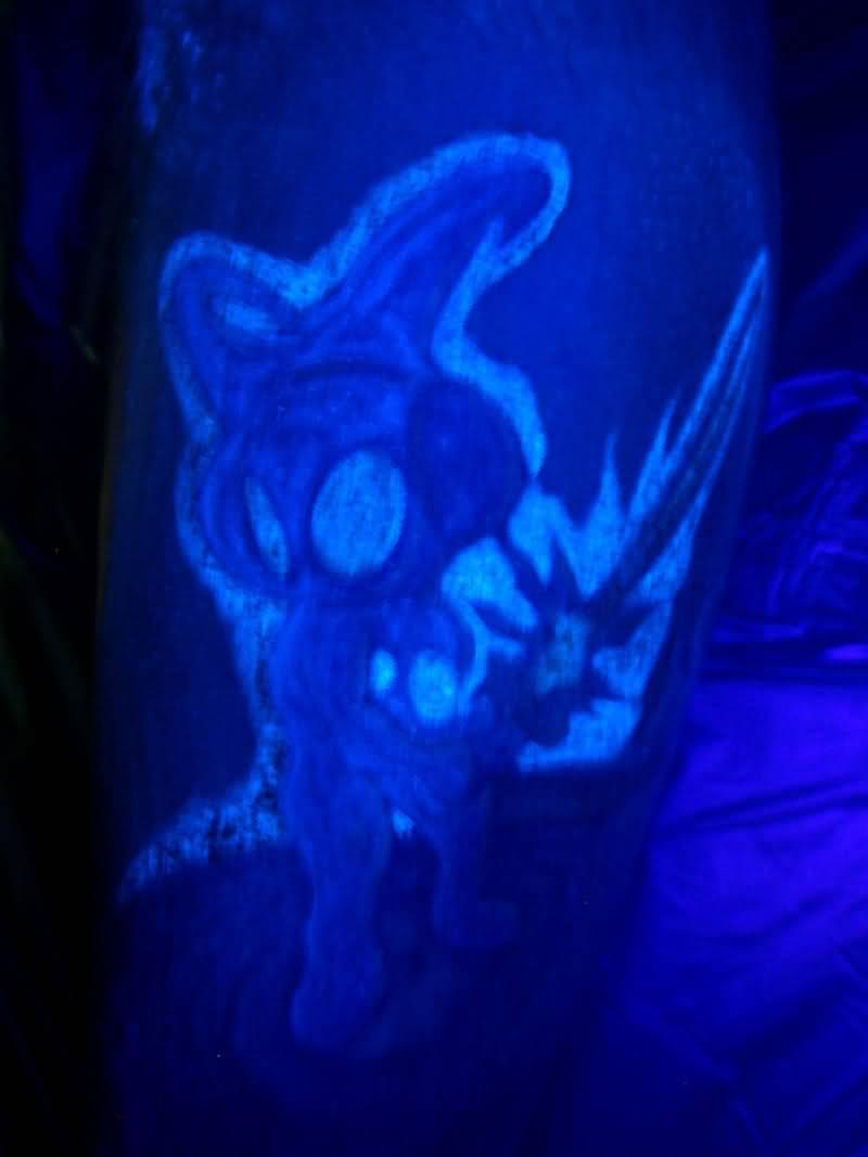 Blue Neon Color Alien Tattoo Design Idea