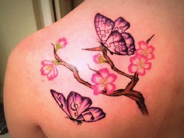 Butterflies With flowers Tattoo On back Shoulder