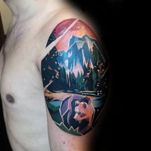 b62b9e9a3 Colorful Geometric Mountain And Bear Tattoo On upper Arm