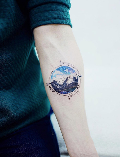 Colorful Landscape Mountain And Compass Tattoo