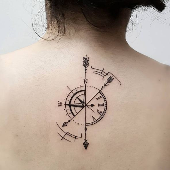 Compass Arrows With Clock Tattoo On Girls Back