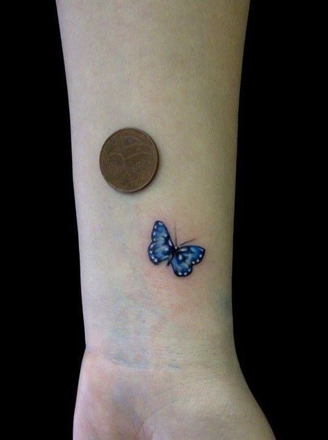 cute small blue butterfly tattoo on wrist. Black Bedroom Furniture Sets. Home Design Ideas