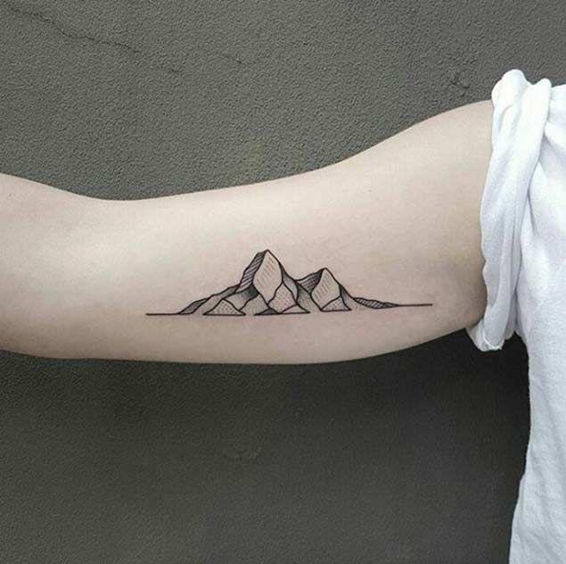 Flat Rock Mountain Tattoo On Bicep