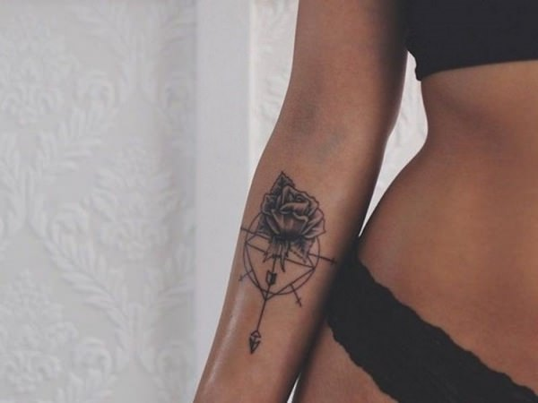 Geometric Arrow Tattoo With Rose Flower On Girls Forearm