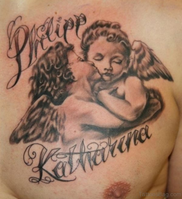 Kissing Baby Angels Tattoo On Chest