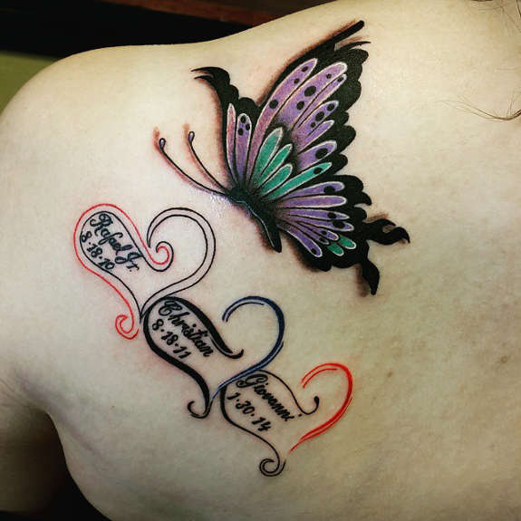 Butterfly tattoo images designs for Butterfly memorial tattoos