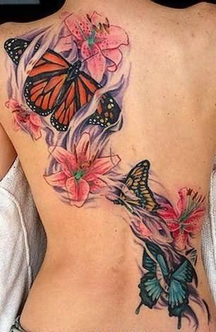 b4abfcb4f Monarch Butterfly And Flowers Tattoo On Girls Back