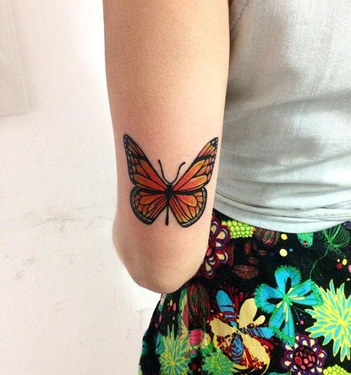 Monarch Butterfly Tattoo On Elbow