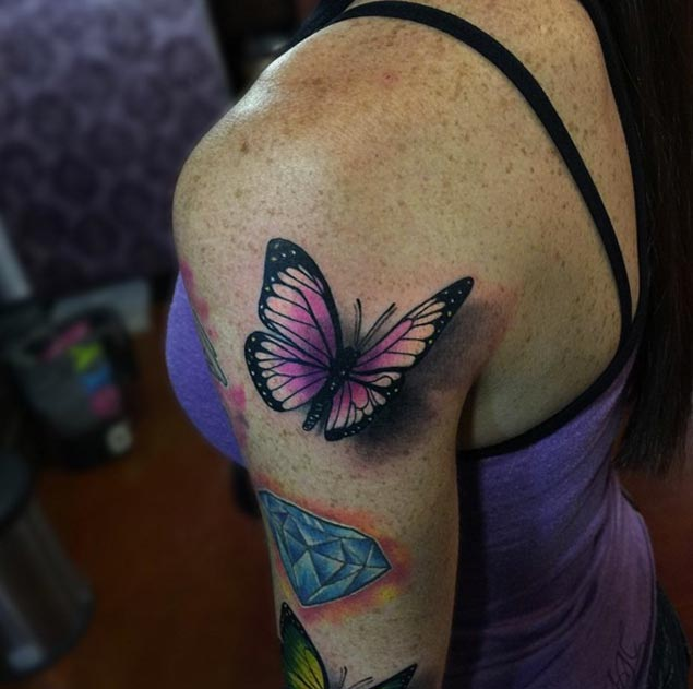 b05f2165c Pink 3d Butterfly Tattoo On Upper Arm