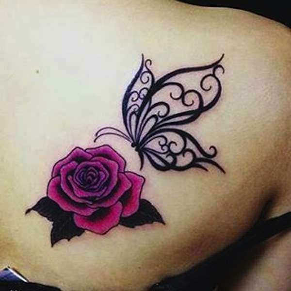 Pink Rose And Black Butterfly Tattoo