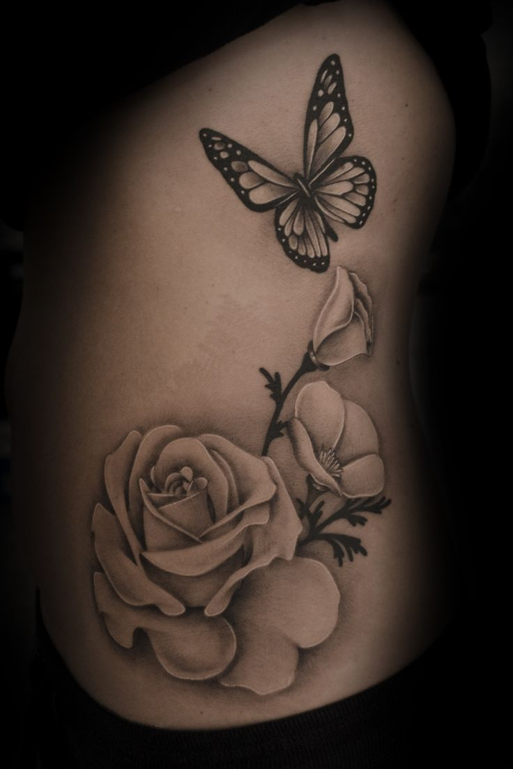 Rose Flowers With Butterfly Tattoo Design