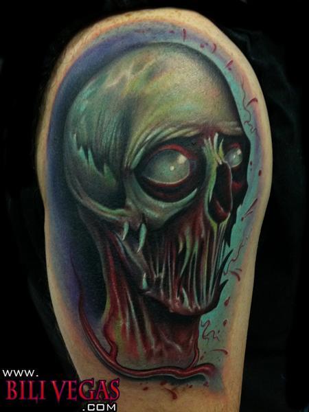 Scary Alien Face Tattoo Design Idea