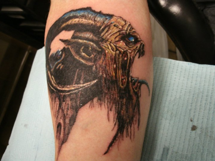 Scary Demon Gargoyle Tattoo On Leg Calf