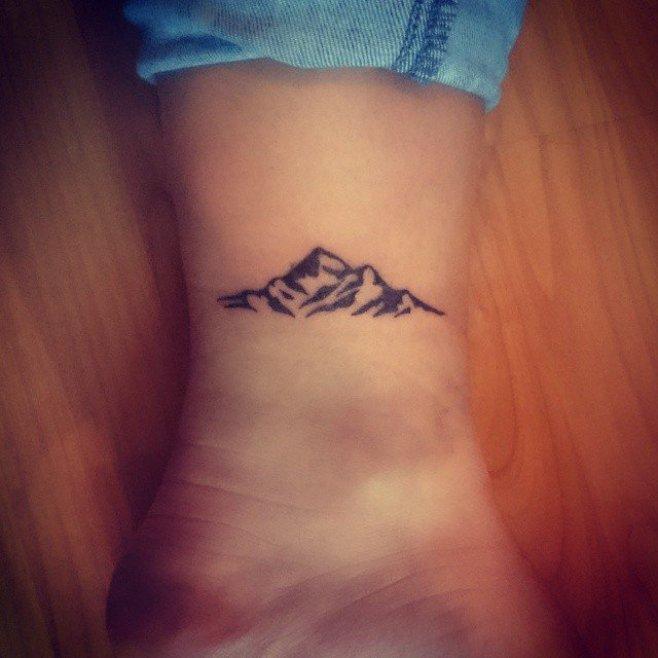 Small Mountain Tattoo Design On Wrist