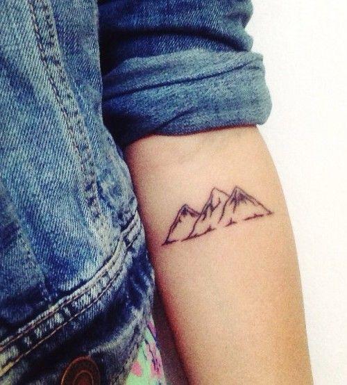 Three Small Mountains Tattoo On Forearm