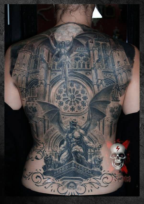 Vintage Building And Gargoyles Tattoo On Full Back