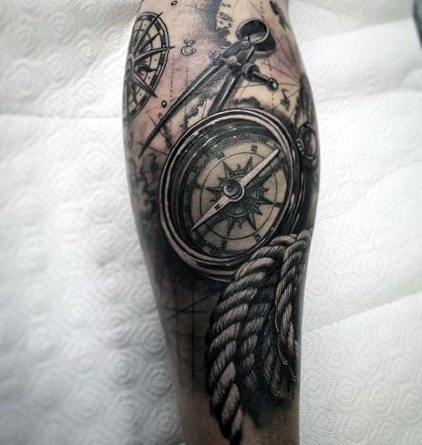 3d Compass with Rope Realistic Nautical Tattoo On Leg