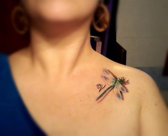 3d Dragonfly Tattoo With V Letter On Collar Bone