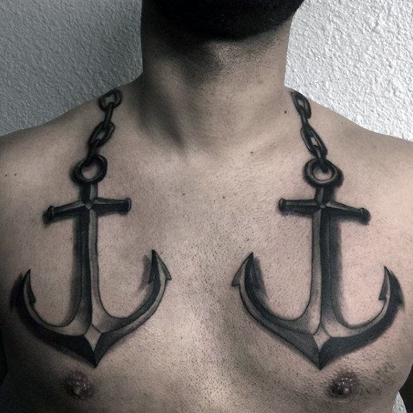 3d nautical anchors with chain tattoo on neck. Black Bedroom Furniture Sets. Home Design Ideas
