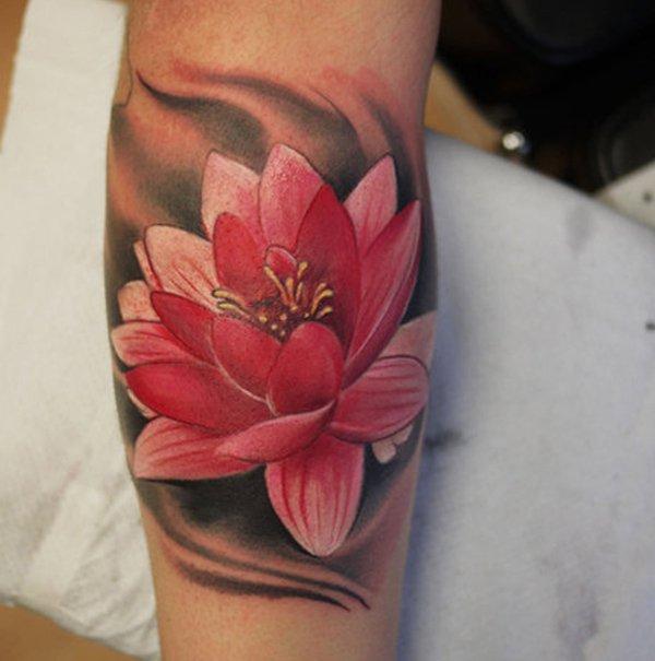 3d Pink Lotus Flower Tattoo On Leg