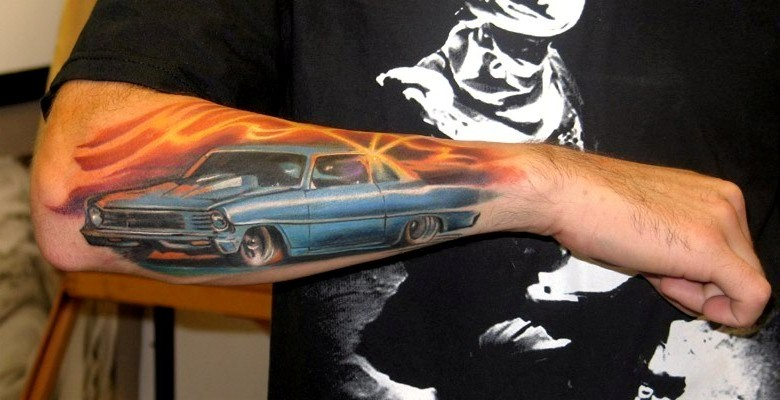 Adorable Blue Car Tattoo On Elbow