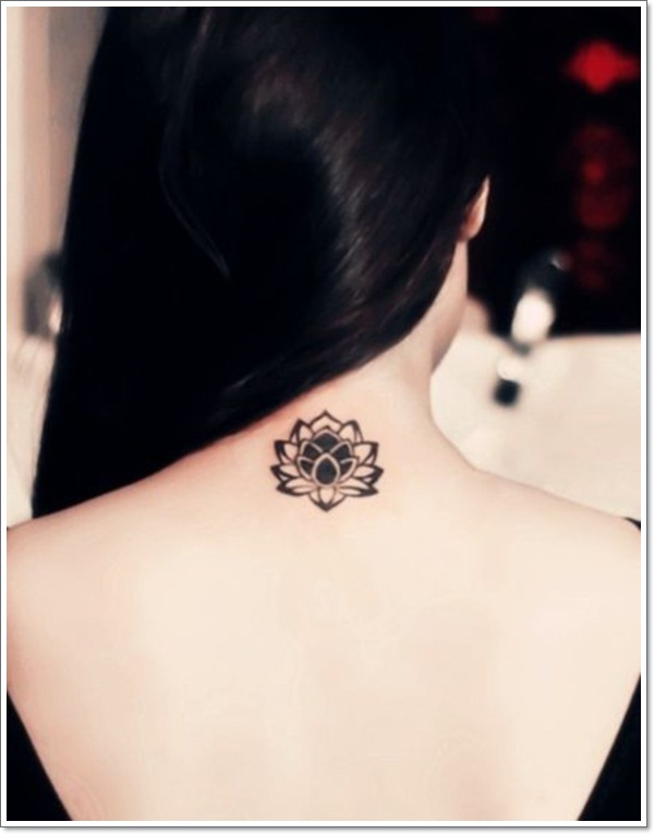 Adorable Small Lotus Flower Tattoo On Back Neck