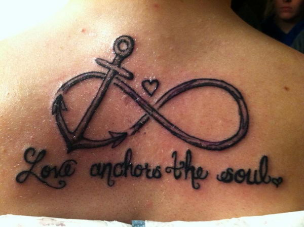 Anchor And Infinity Tattoo With Text