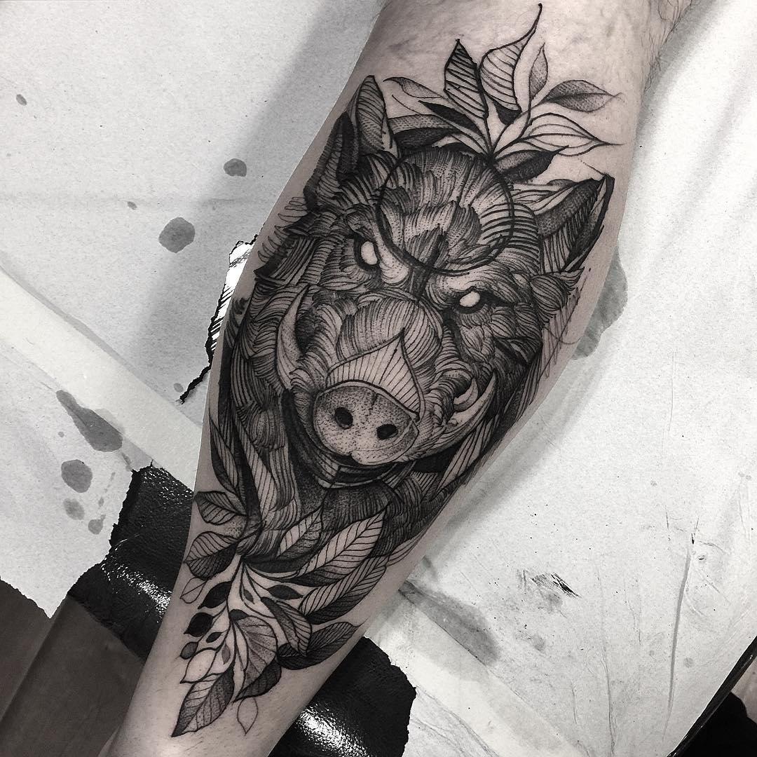 Angry Boar Face With Leaves Tattoo On Leg Calf