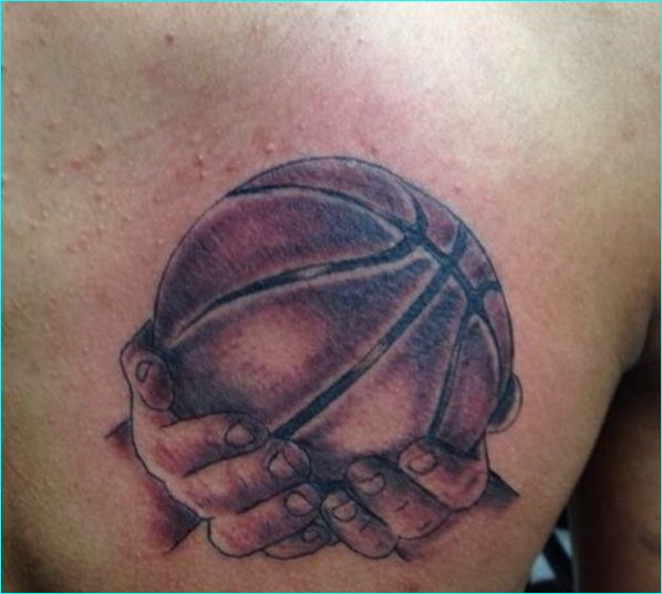basketball in hands tattoo on back shoulder. Black Bedroom Furniture Sets. Home Design Ideas