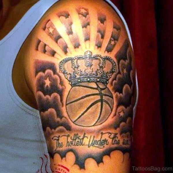 basketball with crown tattoo on half sleeve