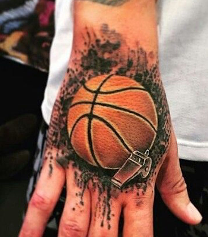 Basketball With Whistle Tattoo On Hand