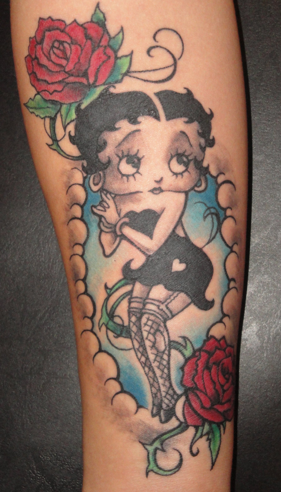 pin up betty boop with bike tattoo design idea. Black Bedroom Furniture Sets. Home Design Ideas