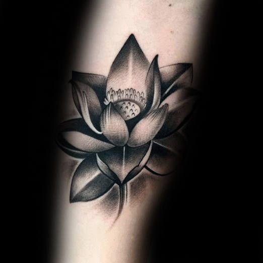 Black and grey lotus flower tattoo design idea mightylinksfo