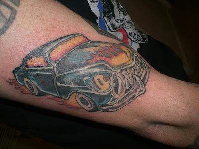Blue Burning Car Tattoo On Half Sleeve
