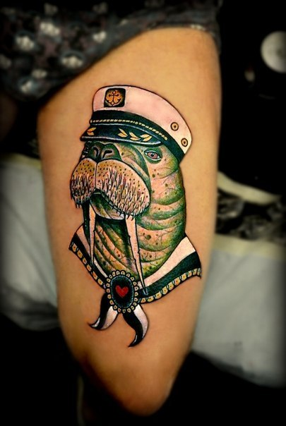 Captain Walrus Nautical Tattoo