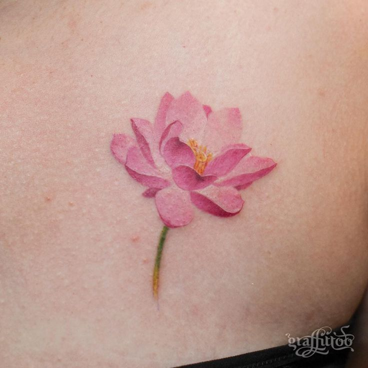 Cute Pink Lotus Tattoo On Waist