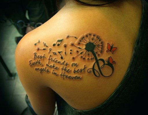 Dandelion With Musical Notes And Quote Tattoo On Back Shoulder