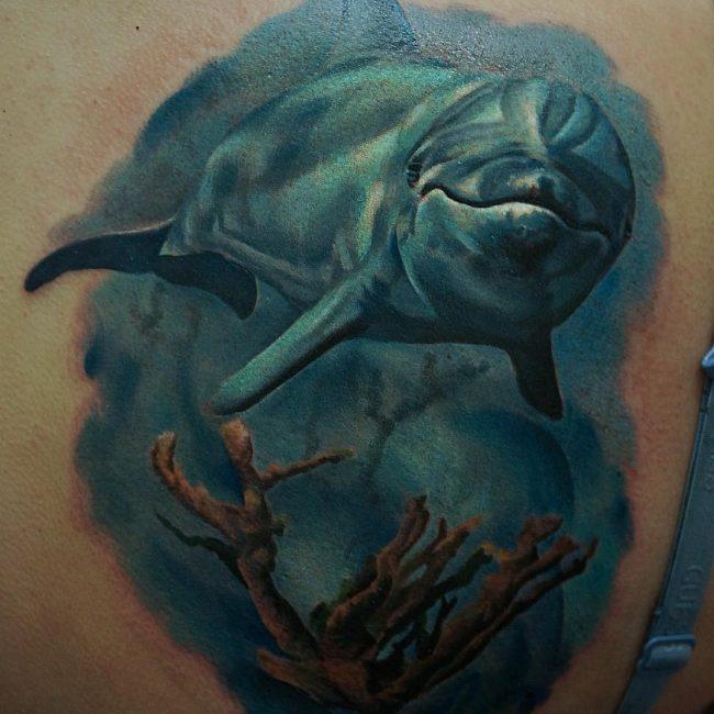 Dolphin Underwater Tattoo Design