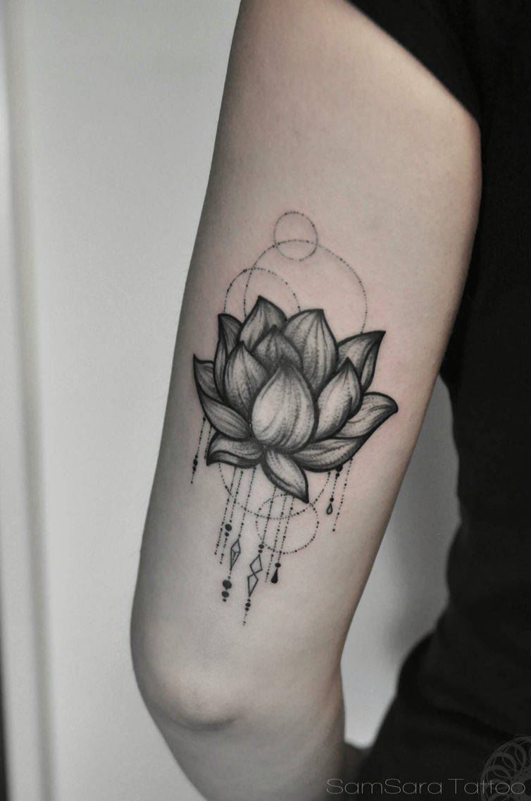 Orange blossom watercolor lotus flower tattoo on back dream catcher lotus flower tattoo on elbow izmirmasajfo