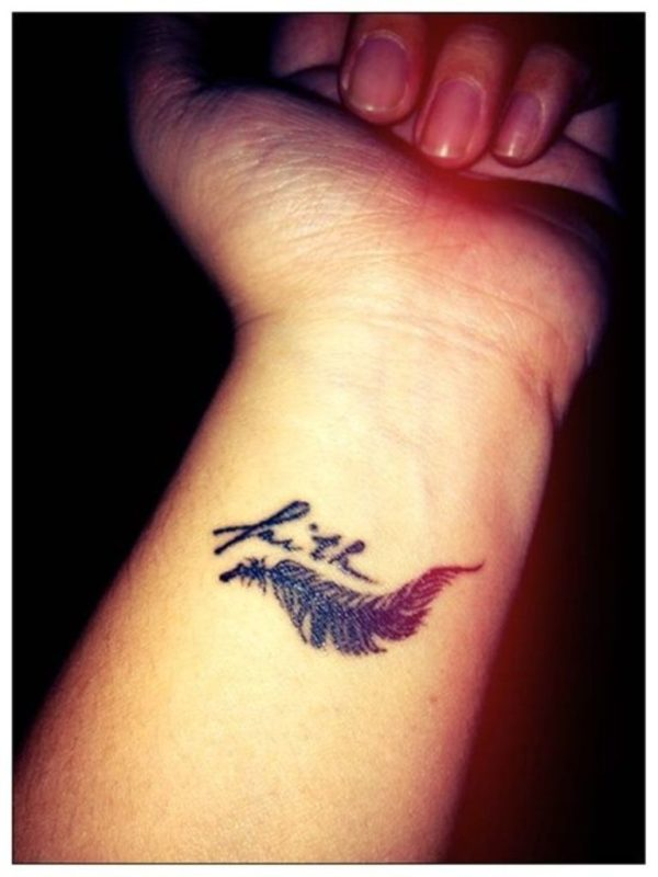 Faith Text And Feather Tattoo On Wrist